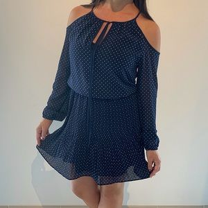 Michael Kors navy blue and white polka dot dress